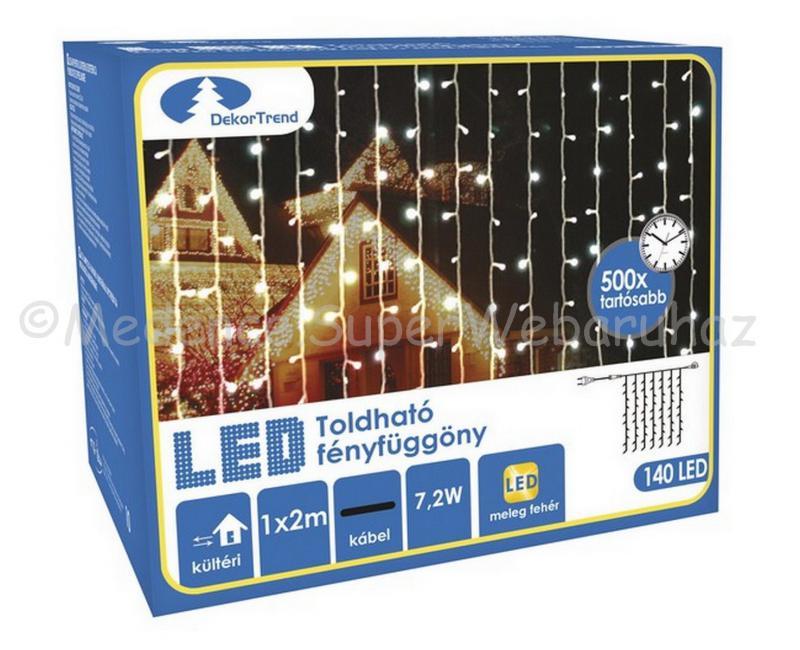 Fényfüggöny 140 LED, 1 m x 2 m - toldható