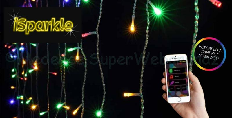 iSparkle™ telefonról vezérelhető okos jégcsapfüzér 128 LED RGBW