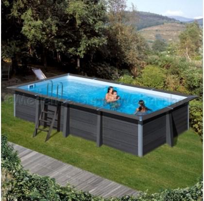 Kompozit szögletes medence szett 6,06 x 3,26 x 1,24 m homokszűrővel