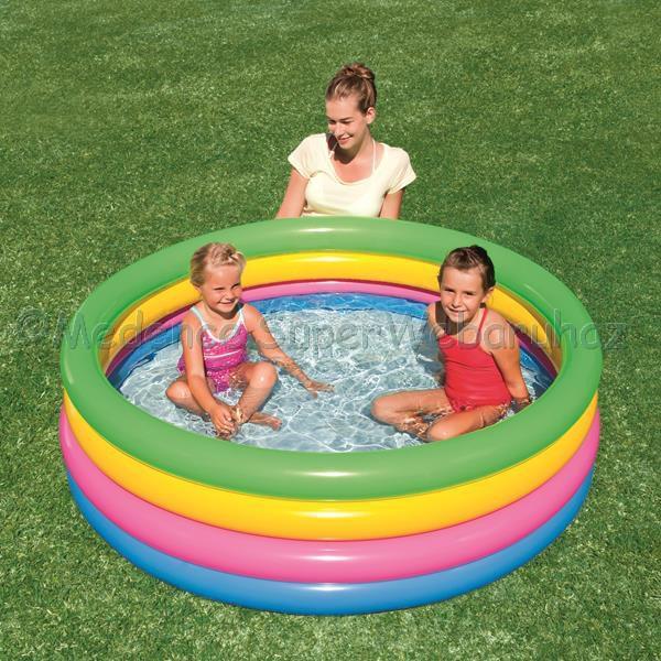 Kör alakú medence színes gyűrűkkel 157 cm x 46 cm