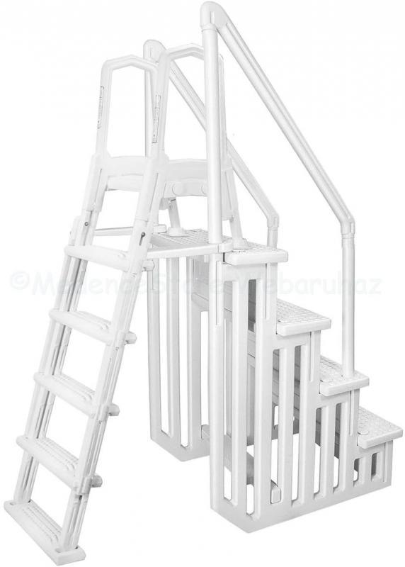 Műanyag kétágú lépcső 122-132 cm-es medencéhez