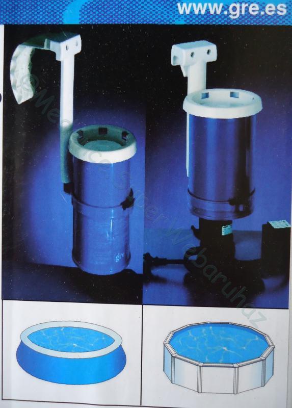 Skimmeres vízforgató peremre akasztható, 3,8 m3/h Gre