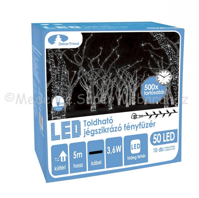 Szikrázó fényfüzér 50 LED, 5 m - toldható