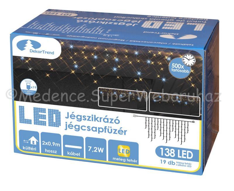 Szikrázó jégcsapfüzér 138 LED, 2 m x 0,9 m - toldható