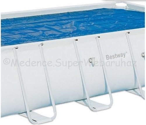Szolár medencetakaró 380 cm * 180 cm, téglalap alakú fémvázas medencékre