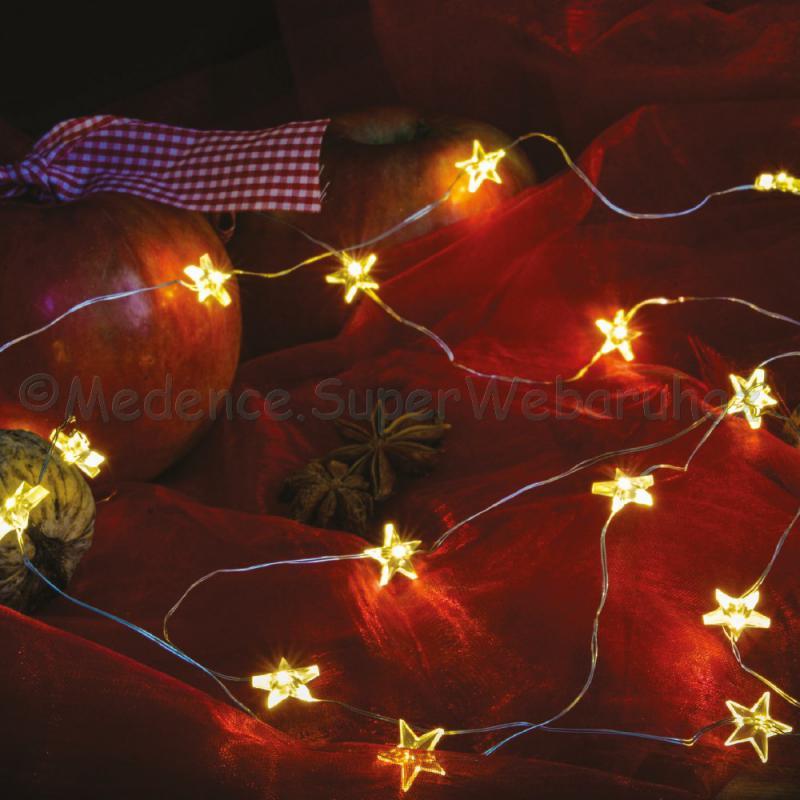 Tündérfény csillaggal, elemes dekorfüzér, 2 m 20 LED