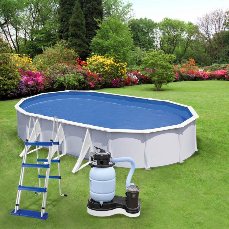 WHITE  merevfalú medence készlet homokszűrővel 7,30 m * 3,75 m * 120 cm ovál