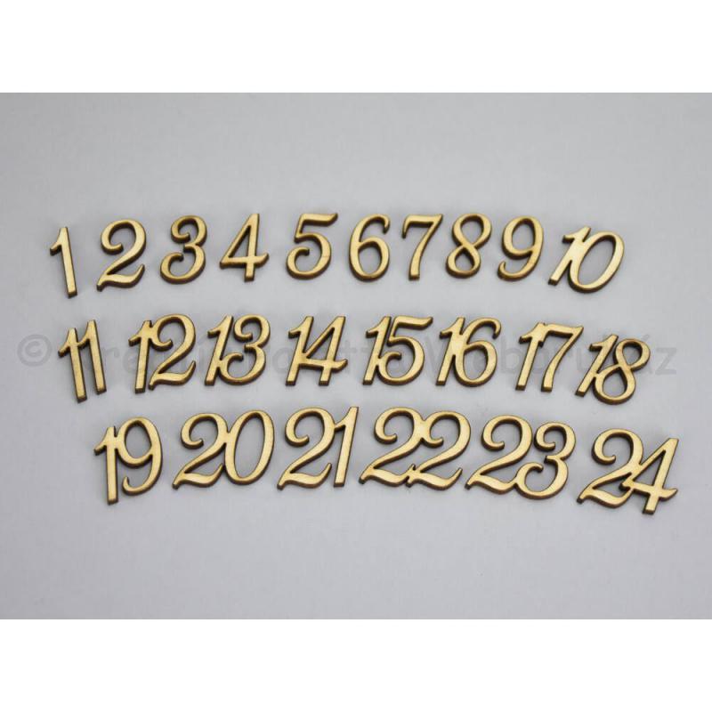 Adventi számok 1-24 -ig, fa, 2 cm