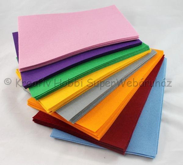 Barkácsfilc  20 cm * 30 cm 1 mm, többféle színben