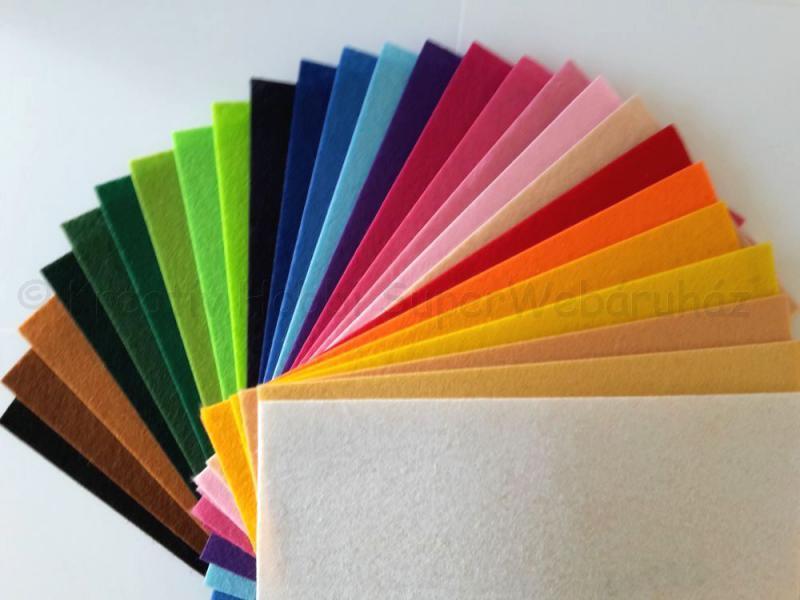Barkácsfilc 20 cm * 30 cm 1,5 mm, többféle színben