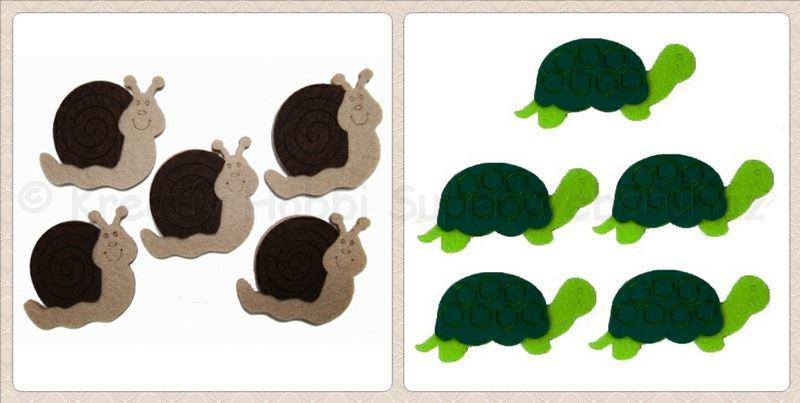 Csiga, teknős filcfigura