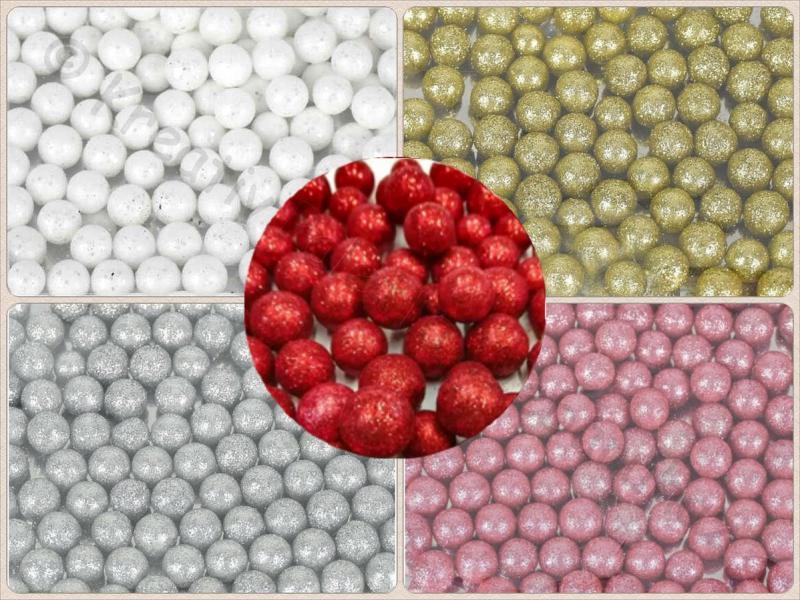 Csillámos hungarocell golyó 1,5 cm 12 db