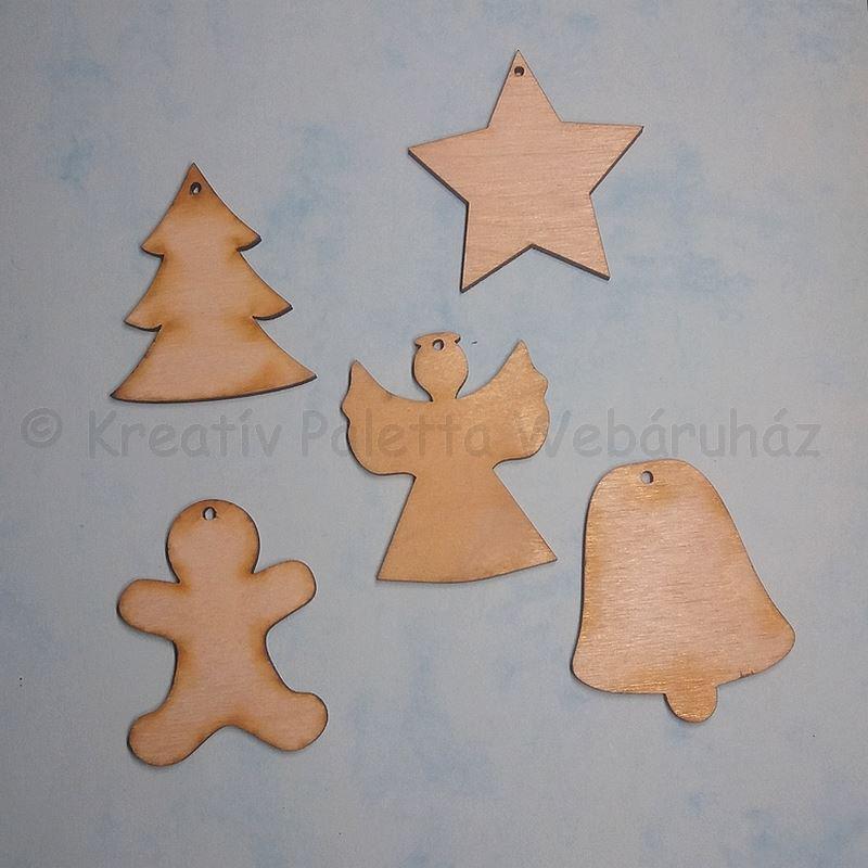 Fa karácsonyfa díszek 5 cm, 5 db