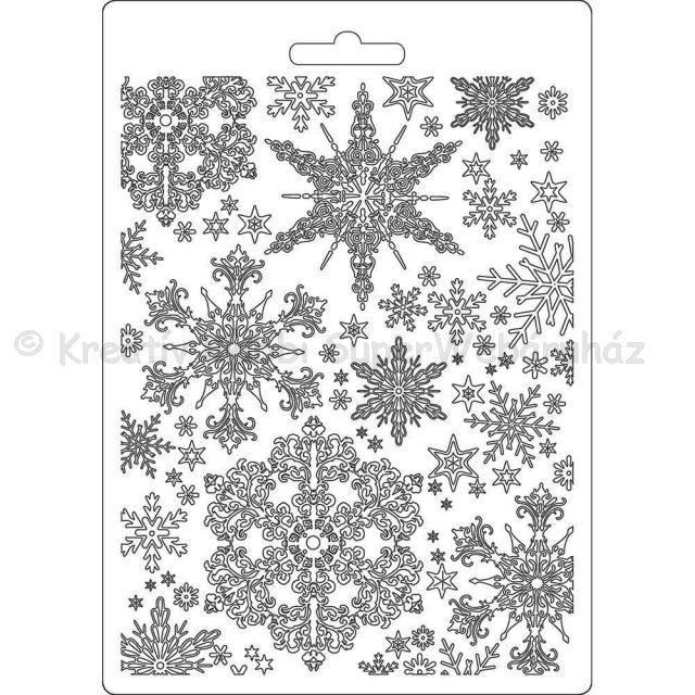 Felületmintázó- textúra lap, A5 - hópehely