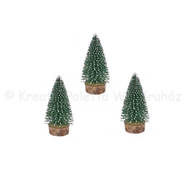 Fenyő dekoráció havas zöld 5 cm, 3 db