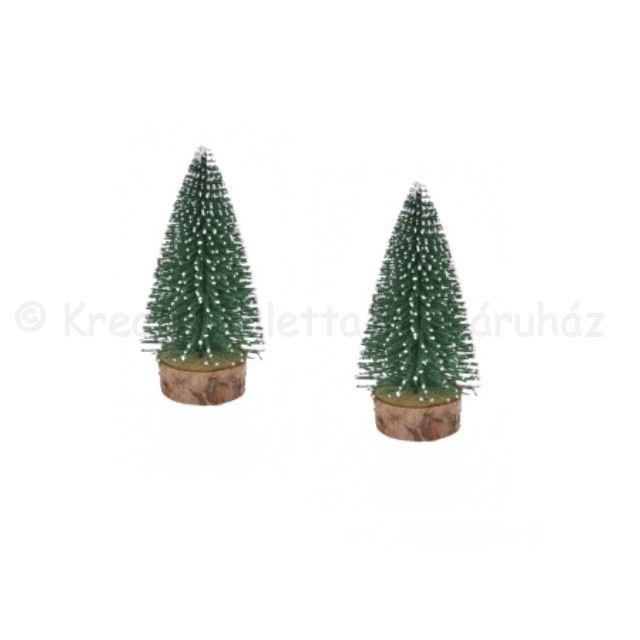 Fenyő dekoráció havas zöld 7 cm, 2 db