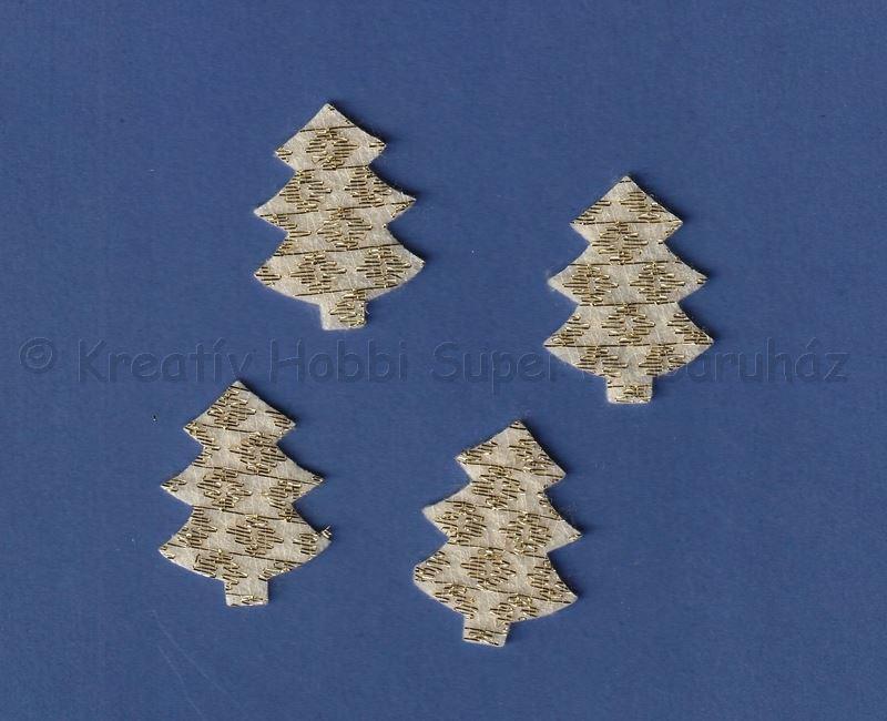Fenyő filc dekoráció 4 cm,  4 db