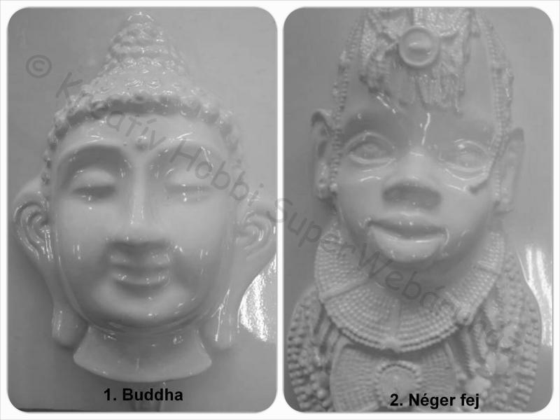 Gipszkiöntő - buddha, néger fej