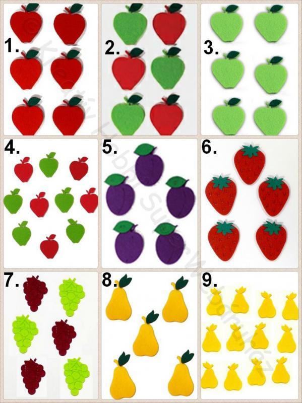 Gyümölcsök filcfigura