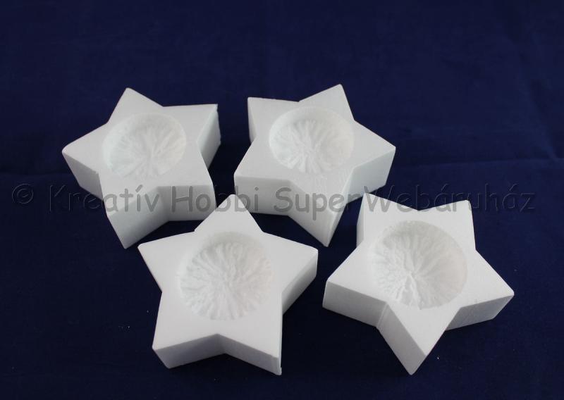 Hungarocell- polisztirol mécsestartó csillag,  4 db/cs