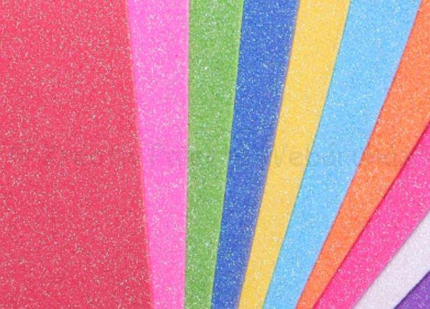 Irizáló glitteres öntapadós dekorgumi 2 mm, A4