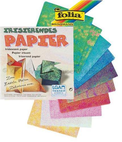 Irizáló hajtogatós papír 14 x 14 cm, 10 db