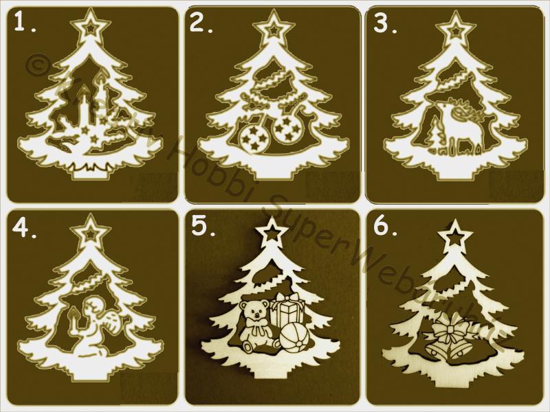 Karácsonyfa ornament, áttört fafigura többféle