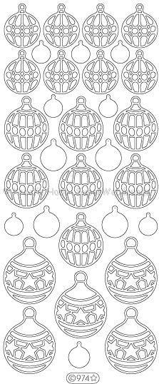 Kontúrmatrica - karácsonyi díszek, ezüst