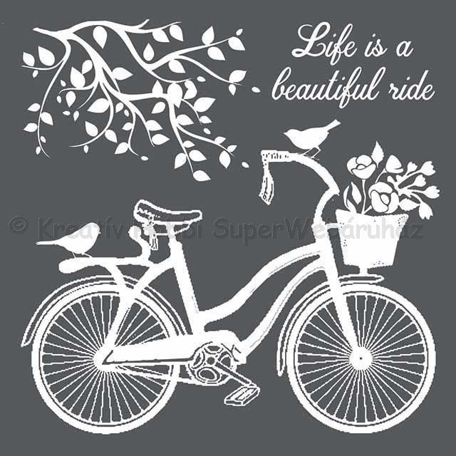 MEDIA Stencil 18 x 18 cm/ 0,25 mm - kerékpár, bicikli