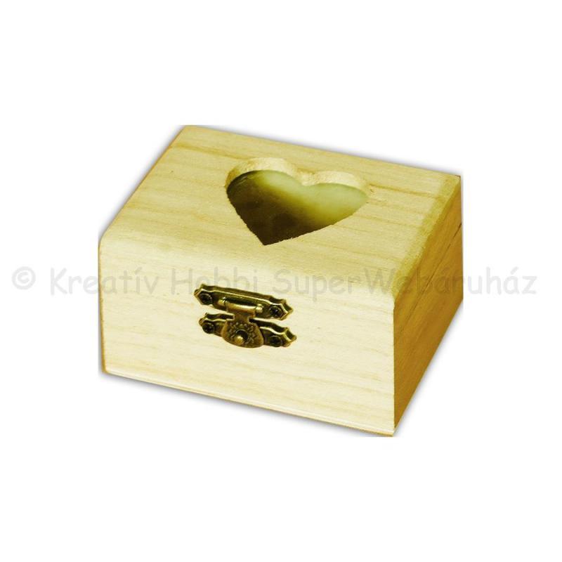 Mini fadoboz szív kivágással 8 x 4,5 x 6 cm