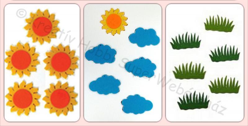 Napocska, felhő, fűcsomó  filcfigura