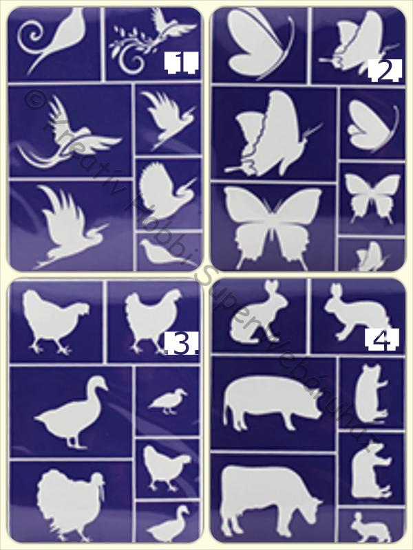 Öntapadó stencil - állatos minták  A/5