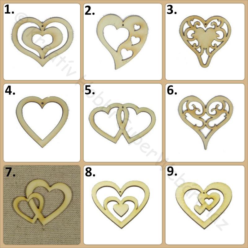 Ornament mintás szív fafigura többféle