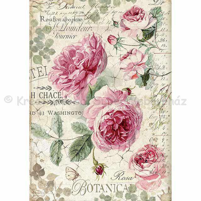 Rizspapír A/4 - angol rózsák