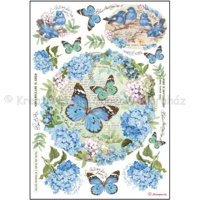 Rizspapír A/4 - hortenzia pillangókkal