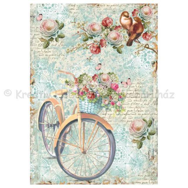 Rizspapír A/4 - kerékpár virágokkal