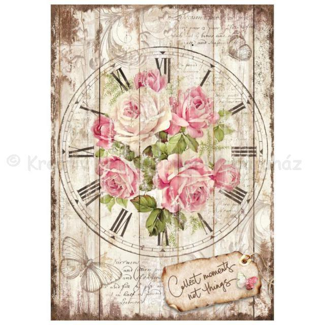 Rizspapír A/4 - óra rózsával
