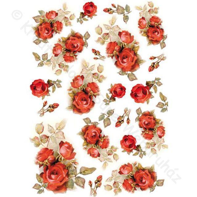 Rizspapír A/4 - piros rózsa
