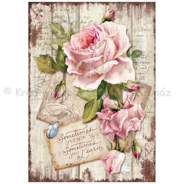 Rizspapír A/4 - rózsa