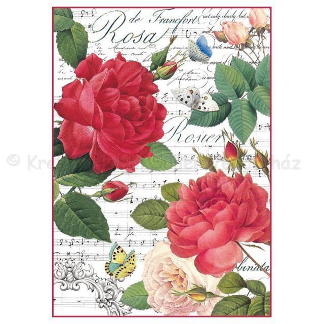 Rizspapír A/4 - rózsa és zene