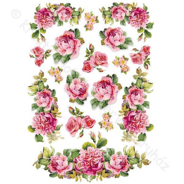 Rizspapír A/4 - rózsa girland