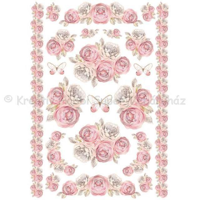 Rizspapír A/4 - rózsa girland és bordűr