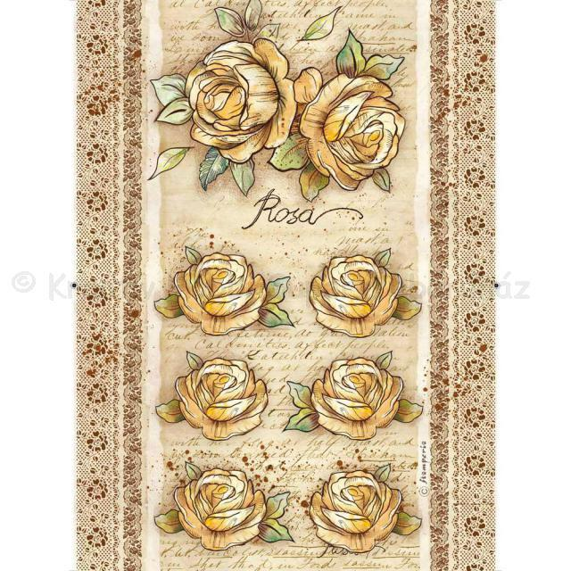 Rizspapír A/4 - rózsák