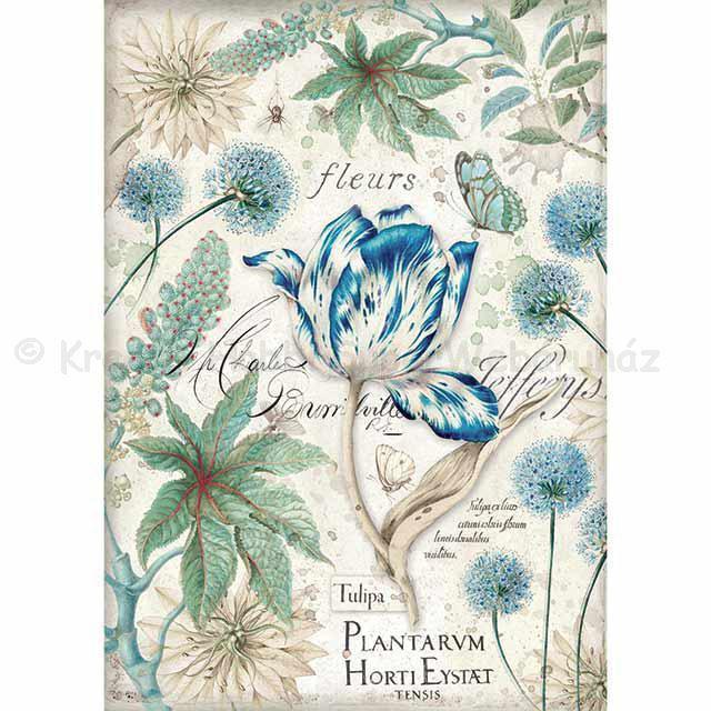 Rizspapír A/4 - tulipánok, kék