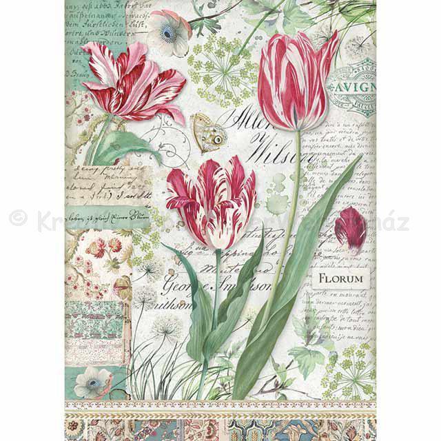Rizspapír A/4 - tulipánok, piros
