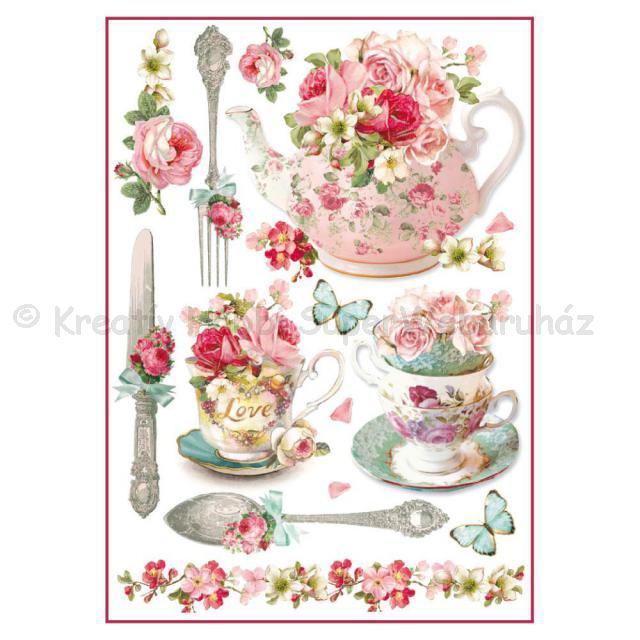 Rizspapír A/4 - virágos csészék és teáskanna
