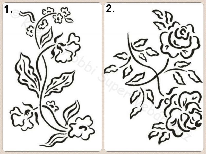 Sablon A/5 rózsa, inda
