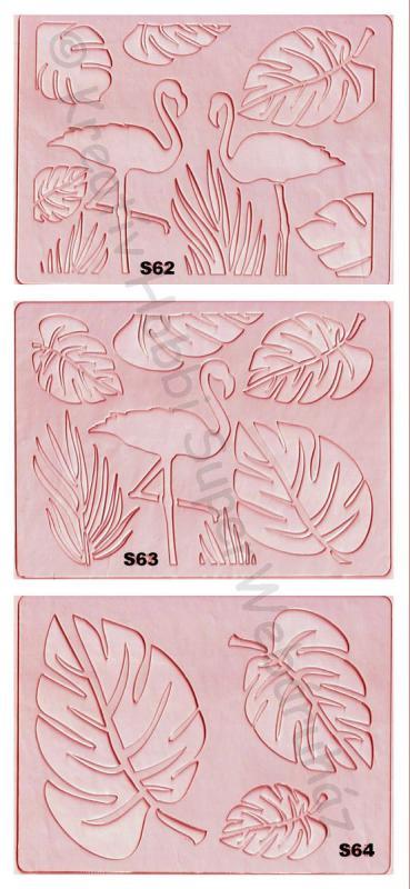 Sablon- flamingó és levelek A/5