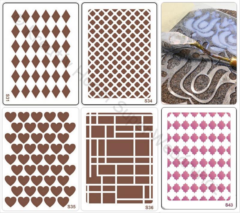 Sablon- geometriai és szív minták  A/5