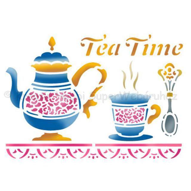 Stencil D, 20 x 15 cm - Tea time